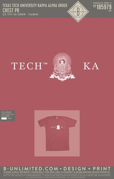 Texas Tech Kappa Alpha Order Crest Shirt PR | Fraternity Event | Greek Event #kappaalphaorder #kappaalpha #theorder #ka #tech Kappa Alpha Order, Texas Tech, Fraternity, Things To Do, Greek, Graphic Design, Let It Be, Artwork, Shirts