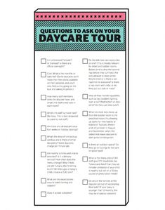 15 questions to ask on your daycare tour (printable) - Today's Parent Questions To Ask Daycare, Primary Caregiver, Starting A Daycare, Daycare Forms, In Home Daycare, Toddler Daycare, Todays Parent, Advertising And Promotion, How Many Kids