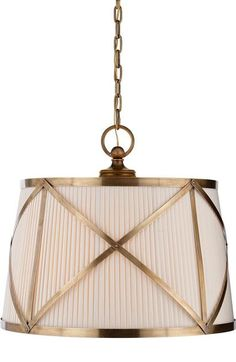 Grosvenor Large Single Pendant in Antique-Burnished Brass with Linen Shade : 2FQN3 | Black Whale Lighting