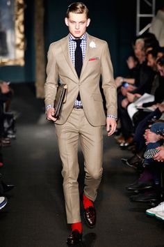 Beige suit with gingham shirt