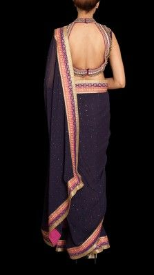 Blue Ghungroo Embroidered Saree