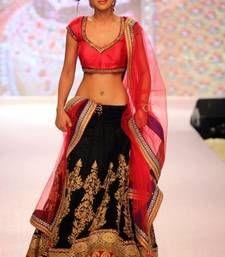 Buy Designer Black and Red Georgette Embroidered Lehenga bollywood-lehenga online