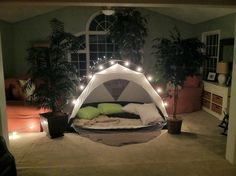 Date Night Idea! Camp In! I set up the tent inside, started a fire, and had s'more ingredients ready to go. It was very romantic. I also put a note in his car that morning inviting him to the camp out!