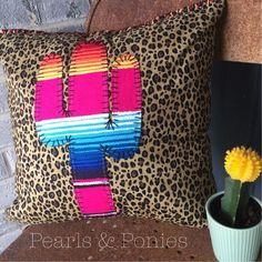 16x16 handmade Serape Cactus pillow. Saguaro by PearlsandPonies
