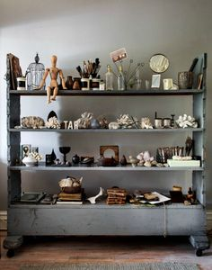 a nice eclectic mix of objects. hilary-robertsons-interior-design-apartment.