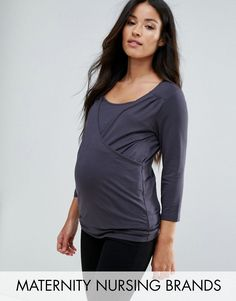 e9fb0eb74c0 Get this Mama.licious s oversized jersey now! Click for more details.  Worldwide shipping. Mamalicious Nursing Long Sleeve Wrap Top - Grey   Maternity top by ...