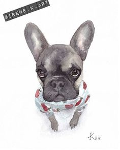 акварель иллюстрация французский бульдог frenchie french bulldog illustration watercolors