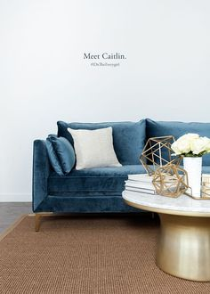 I will forever love and desire a dark blue velvet sofa. Introducing The Everygirl's Caitlin Sofa at Interior Define! #theeverygirl