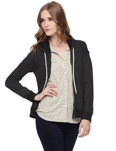 """Whether you're lounging or running errands our Tahoe Active Hoodie will keep you comfy and cozy Classic zip front hoodie is perfect for every casual occasion Full front zip Hooded collar with drawstring Long sleeves Ribbed trim Lined Model is wearing size XS. She is She is 5'9"""", 32-23.5-34, dress 2"""