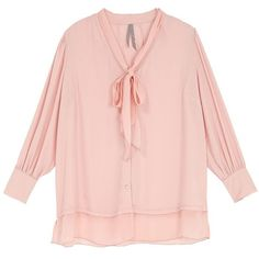 Melissa Mccarthy Seven7 Plus Solid Tie Blouse ($67) ❤ liked on Polyvore featuring plus size women's fashion, plus size clothing, plus size tops, plus size blouses, blouses, pink, plus size, button front blouse, plus size womens blouses and layered tops