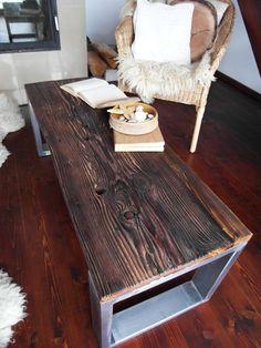 Unique Handmade Rustic Reclaimed Wood & Steel LOFT Bench Coffee Table | eBay