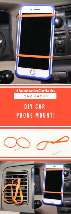 "#AD Hey All! I made this easy DIY Car Phone Mount after reading this awesome @Autotrader ""Car Hacks"" article on Autotrader.com! See the step by step to do it in this photo and check out the ""Car Hacks"" article on Autotrader.com for more great hacks for your car and for all the best car-related research and news to help you with your car buying process! #AutotraderCarHacks #Autotrader #CarHacks"