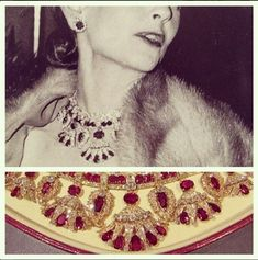 Ruby and Diamond Necklace of Barbara Hutton and Queen Amelie of Portugal -Van Cleef & Arpels reset the necklace so it could also be worn as a tiara - to unknown collector