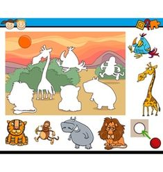 Educational game for preschool kids vector image on VectorStock Montessori Activities, Activities For Kids, Hello December Images, Educational Games For Preschoolers, Character Activities, Penguin Coloring Pages, Body Preschool, Kids Vector, Animal Games