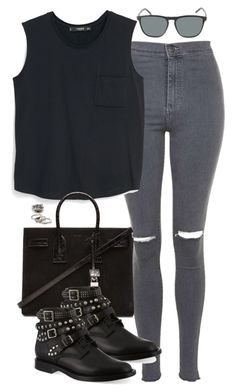 """""""Untitled #4881"""" by eleanorsclosettt ❤ liked on Polyvore featuring Topshop, MANGO, Yves Saint Laurent and Forever 21"""