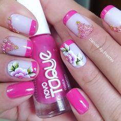 29 Modelos de Unhas com Flores Nails & Co, Nail Designs, Nail Polish, Nail Art, Umbrellas, Beauty, Nail Jewels, Nail Art Flowers, Flower Nails