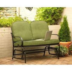 Hampton Bay Fall River Patio Double Glider with Moss Cushions