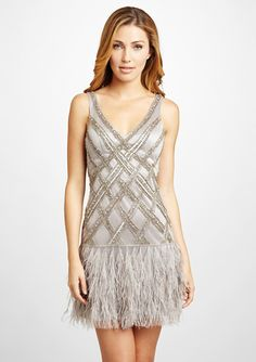 SUE WONG V-Neck Cocktail Dress with Feather Skirt