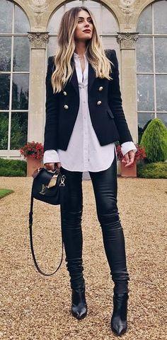 office style addict / bag + blazer + shirt + skinnies + boots