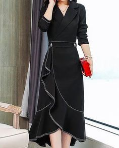 salaş elbise Stylewe Formal Dresses Long Sleeve Wrap Dresses Daily High Low Lapel Elegant Wrap Dresses you can find similar pins below. Simple Dresses, Elegant Dresses, Women's Dresses, Dresses Online, Fashion Dresses, Wrap Dresses, Wedding Dresses, Ruffled Dresses, Church Dresses