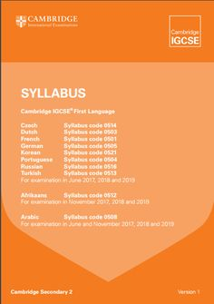 CIE German First Language IGCSE (0505) Specification. Exam June 2017-2019. http://www.cie.org.uk/images/204286-2017-2019-syllabus.pdf