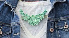 Mint Necklace, Mint Statement Necklace, Mint Bib Necklace, Kanzashi Flower Necklace, Mint Flower Necklace, Flower Statement necklace, by LilsHandmadeGarden on Etsy