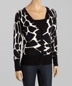 This Black & White Giraffe V-Neck Cardigan - Women is perfect! #zulilyfinds