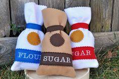 Felt Food Interactive Baking Set- Flour Sugar and Brown Sugar - Ready to ship. $17,50, via Etsy.