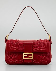 Embroidered Leather Baguette Shoulder Bag, Burgundy by Fendi at Neiman Marcus.