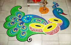 Peacock rangoli designs are popular due to it's colors, vibrant feathers and beautiful shapes. Latest Peacock rangoli designs for all festivals. Rangoli Designs Peacock, Easy Rangoli Designs Diwali, Rangoli Simple, Rangoli Designs Latest, Simple Rangoli Designs Images, Latest Rangoli, Free Hand Rangoli Design, Rangoli Patterns, Rangoli Ideas