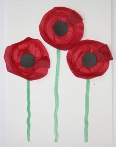 Painted Tissue Poppy Craft I'll wear a little poppy, as red as red can be, to show that I remember, those who fought for me.