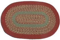 1775 - Carolina Harvest with New Sage & Terracotta This high-quality braided rug is made by American workers at our family-owned business in the North Carolina Mountains. It is made from Naturalized Olefin, which is a synthetic, polypropylene yarn that is extremely durable, yet soft enough for use indoors. It is color fast and washable. Visit  http://www.stroudbraidedrugs.com/ for more details.