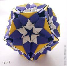 "Kusudama ""Kaleidodama"" Author: Aldo Marcell  60 modules 6.5 x 6.5 cm 30 modules 4.5 x 4.5 cm  Size - about 11 cm"