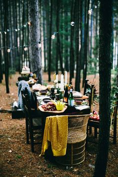 bohemian woodland wedding, photo by Alyssa McElheny Photography http://ruffledblog.com/bohemian-luxe-wedding-inspiration #receptions