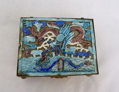 ANTIQUE VINTAGE CHINESE BLUE PURPLE ENAMEL DRAGON ALABASTER OPEN SIDE HINGED BOX