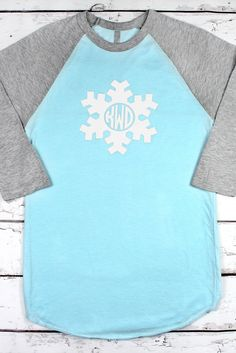 Snowflake Monogram 3/4 Sleeve Raglan Tee *Choose Your Colors