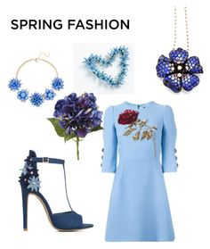 """""""10 blue Flowers @nc4you"""" by nc4you ❤ liked on Polyvore featuring Dolce&Gabbana, Natasha Accessories, ShoeDazzle, Spring, Blue, Flowers, dress and NC4you"""