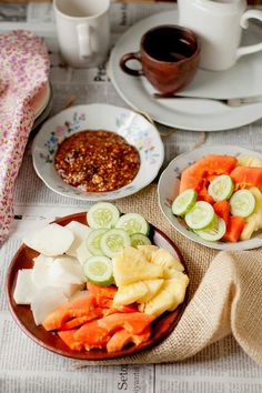 Spicy fruit salad (rujak), Indonesian - usually served with sweet and spicy sauce with peanuts