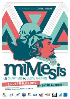 Affiche pour le festival de théâtre Mimesis 2015. Jordan, Creations, Comic Books, Illustrations, Comics, Cover, Movie Posters, Art, Student House