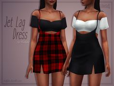 Jet Lag Dress Two piece dress inspired by the Tiger Mist Clara Pini Dress on DOLLSKILL. custom thumbnail 20 swatches base game compatible edited EA mesh by me please read and respect my TOU you can. Sims 4 Teen, Sims 4 Toddler, Maxis, Best Sims, Sims 4 Dresses, Sims4 Clothes, Sims 4 Mm Cc, The Sims 4 Download, Sims 4 Cas