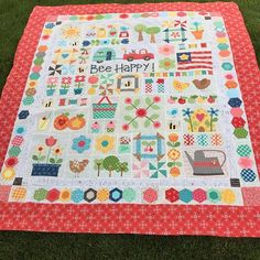 Hot off my sewing machine... Bee Happy quilt finished. I wanted a red border to keep it fresh looking and bright. I have sew enjoyed this process of creation creating my journey and blocks. Enjoy the ride and Bee Happy enjoy! #done #beehappysewalong #wehavekits #takeyourtime #classeswithheather #beeinmybonnet