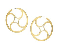 Crop Circle Mystery Hoop Earrings in Sterling Silver and Yellow Gold Vermeil