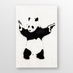 Banksy - Panda with Guns. Very reminiscent of the book _Eats, Shoots & Leaves_.