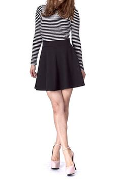 0ea612bab00 Basic Solid Stretchy Cotton High Waist A-line Flared Skater Mini Skirt at Amazon  Women s Clothing store