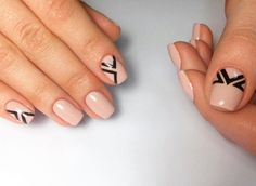 Beige gel polish, Black pattern nails, Drawings on nails, Everyday nails, Geometric nails, Ideas of gentle nails, Office nails, Square nails