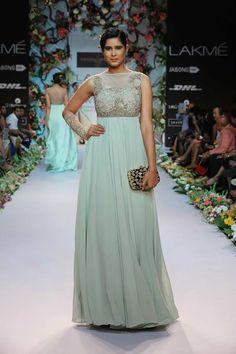 Shyamal & Bhumika Lakme Fashion Week Summer Resort 2014 sea green blue Indian fusion wedding dress