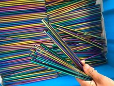 Rainbow Colorful Stainless Steel 304 Drinking Straws 100Pcs/Lot Length 215Mm Diameter 6Mm Fda Stainless Steel 304, Stainless Steel Straws, Metal Straws, Pink Art, Bar Accessories, Steel Material, Rainbow Colors, Customized Gifts, Drinking