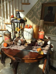 Courtesy of Caroline Manzo of Manzo'd With Children & Real House Wives of New Jersey. Front foyer of her home adorned in Fall decor.