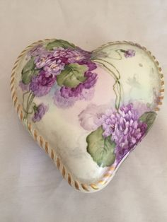 Antique T&V Limoges Hand Painted Purple Floral Porcelain Dresser Heart Box | Pottery & Glass, Pottery & China, China & Dinnerware | eBay!