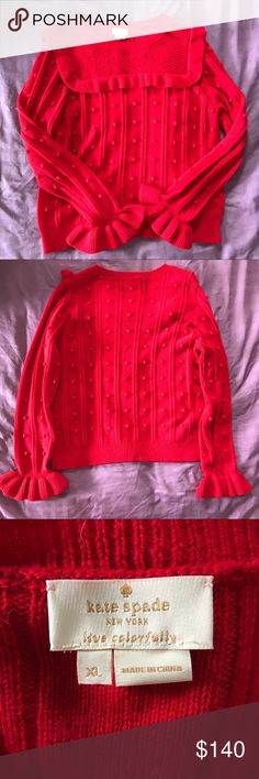 Kate Spade Bell Sleeve Sweater NWOT. Perfect for the upcoming holiday season, this gorgeous and comfy red sweater is great for a casual look with jeans or a fun and fancy look with a skirt. Perfect for layering or to wear under a coat.  Never worn, in wonderful condition. Currently online for $174. No low balling as this is A NEW AND UNUSED KATE SPADE!! kate spade Sweaters